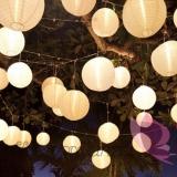 Lampion dekoracyjny, kula biała 35cm