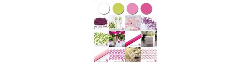 Paleta - biel, zieleń, róż