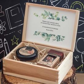 Zestawy z naturalnymi słodyczami dla Nauczycieli Zestaw truskawkowy w szkatułce - NATURA - personalizacja Dzień Nauczyciela