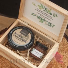 Zestawy z naturalnymi słodyczami dla Nauczycieli Zestaw czekoladowy mały w szkatułce - NATURA - personalizacja Dzień Nauczyciela