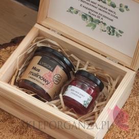 Zestawy z naturalnymi słodyczami dla Nauczycieli Zestaw malina 1 w szkatułce - NATURA - personalizacja Dzień Nauczyciela