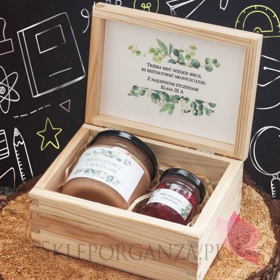 Zestawy z naturalnymi słodyczami dla Nauczycieli Zestaw malina 2 w szkatułce - NATURA - personalizacja Dzień Nauczyciela