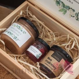 Zestawy z naturalnymi słodyczami dla Nauczycieli Zestaw malina 3 w szkatułce - NATURA - personalizacja Dzień Nauczyciela