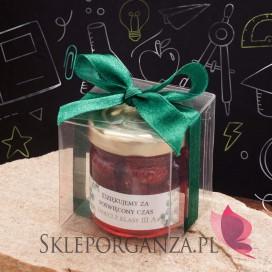 Miód akacjowy z malinami w ozdobnym pudełku - personalizacja Dzień Nauczyciela