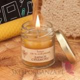 Świeca z wosku pszczelego zapach CYNAMON – personalizacja Dzień Nauczyciela