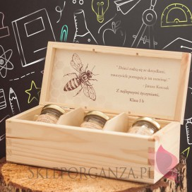 Świece z naturalnego wosku pszczelego dla Nauczycieli Zestaw świec z wosku pszczelego w szkatułce - personalizacja Dzień Nau...