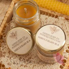 Świece z naturalnego wosku pszczelego dla Nauczycieli Świeca z wosku pszczelego zapach POMARAŃCZA– personalizacja Dzień Nauc...