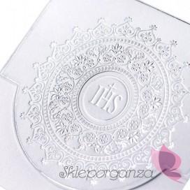 Zaproszenia komunijne srebrny ornament, 10 szt