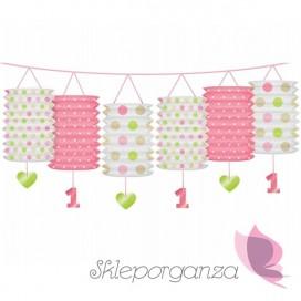 Dekorcje wiszące Girlanda z lampionami różowymi Roczek