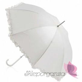 Parasol biały falbanka