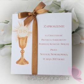 Zaproszenia komunijne personalizowane Zaproszenie Komunia - personalizacja kolekcja KIELICH