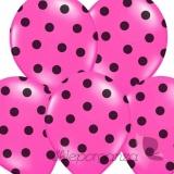 Balony różowe w czarne KROPKI, 6szt
