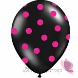 Balony czarne w różowe KROPKI, 6szt
