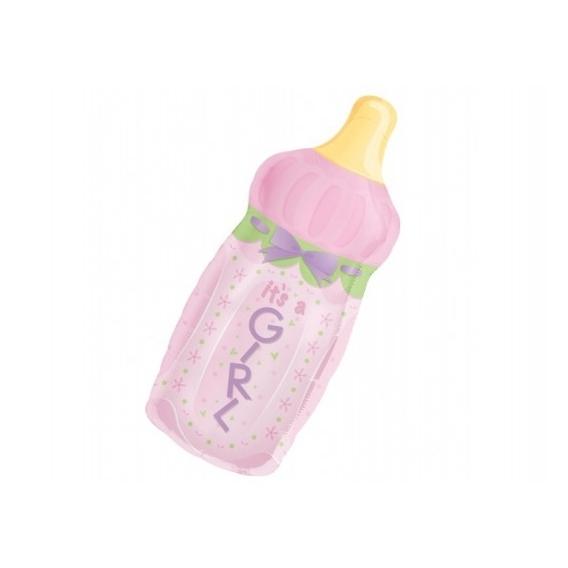 Balony Balon foliowy 33x79cm butelka dziewczynka