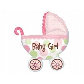 Balony na Baby Shower Balon foliowy 71x78cm wózek dziewczynka
