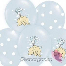 Balony Słonik Niebieskie, 6szt