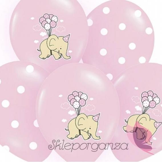 Balony Balony Słonik Różowe, 6szt.