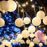 Papierowe lampiony kule na wesele Lampion dekoracyjny, kula biała 25cm