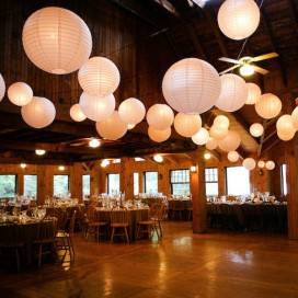 Papierowe lampiony kule na wesele Lampion dekoracyjny, kula biała 50cm