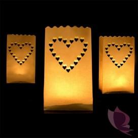 Lampiony torebki serca - 10 szt