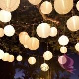 Lampion dekoracyjny, kula kremowa 35cm