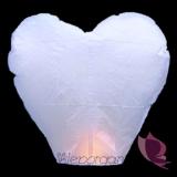 Latające lampiony życzeń - białe serca HURT- 100szt