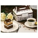 Pudełko na ciasto weselne - Brązowe