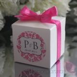 Pudełka Pudełko kostka biała, wstążka - personalizacja