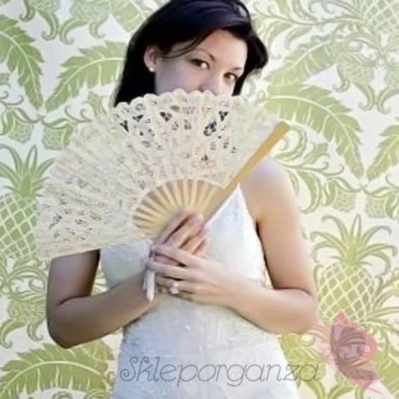Wachlarze ślubne Wachlarz classic lace kremowy