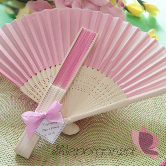 Wachlarz materiałowy różowy - personalizacja