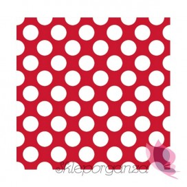 Serwetki 33x33 KROPKI czerwone - białe