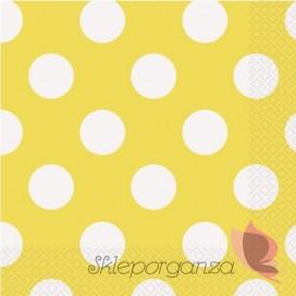Serwetki 33x33 KROPKI żółte - białe