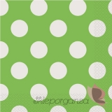 Serwetki 33x33 KROPKI zielone - białe