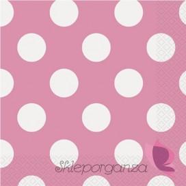 Serwetki 33x33 KROPKI różowe - białe