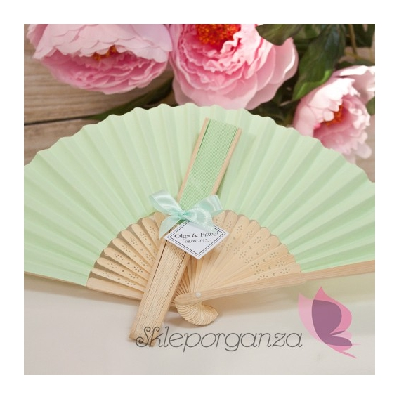 Wachlarz papierowy zielony - personalizacja