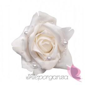 Róże z perełkami na przyssawkach, białe, 4szt