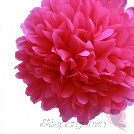 Papierowe kule kwiatowe pompony Papierowy kwiat, ciemnoróżowy, 35cm