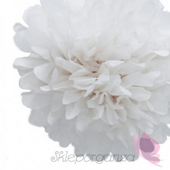 Papierowe kule kwiatowe pompony Papierowy kwiat, biały, 35cm