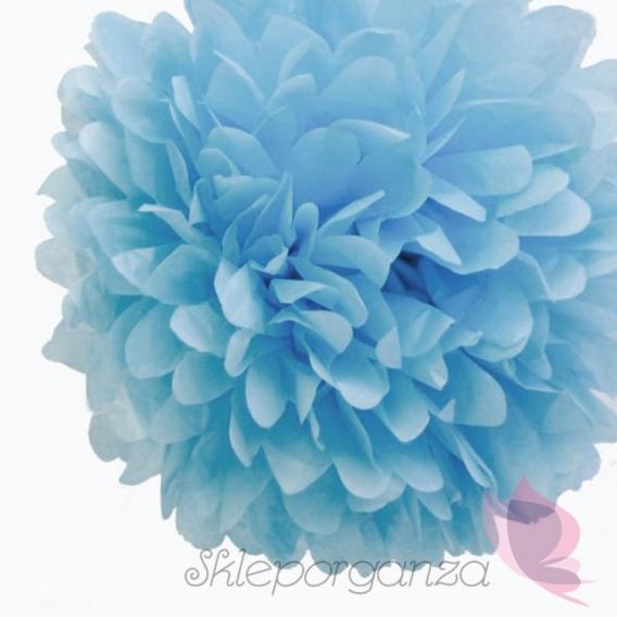 Papierowe kule kwiatowe pompony Papierowy kwiat, jasnoniebieski, 35cm