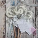 Lizaki weselne personalizowane Lizak okrągły szary - personalizacja - kolekcja LOVE