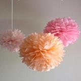 Papierowe kule kwiatowe pompony na wesele Papierowy kwiat, brzoskwiniowy, 35cm