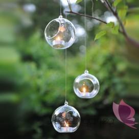 Świecznik kula szklana, średnica 10cm