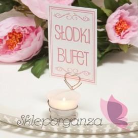 Numery stolików Świecznik serce LOVE - personalizacja