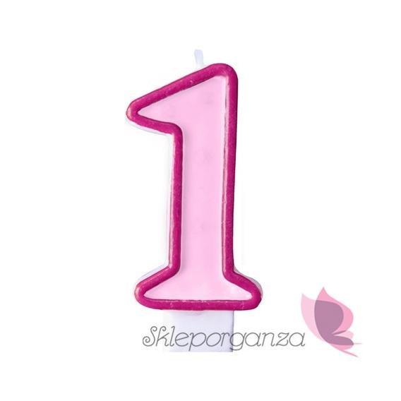 Toppery i figurki Świeczka urodzinowa 1 różowa