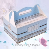 Pudełka na ciasto komunijne Pudełka komunijne na ciasto niebieskie, 10szt