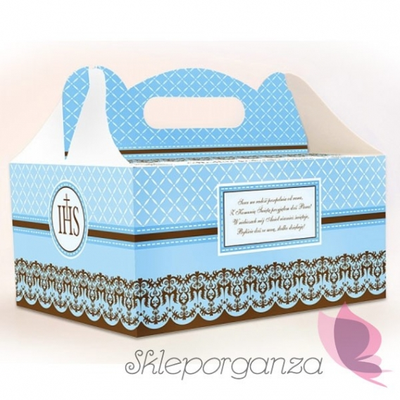 Bez personalizacji Pudełka komunijne na ciasto niebieskie, 10szt
