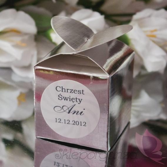 Pudełko serce srebrne - personalizacja CHRZEST