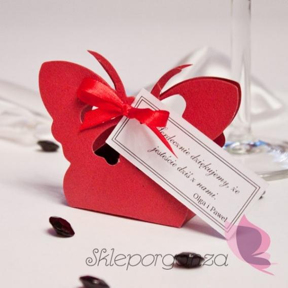 Pudełka Pudełko motyl czerwony - personalizacja