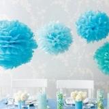 Papierowy kwiat, jasnoniebieski, 50cm