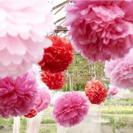 Papierowe kule kwiatowe pompony Papierowy kwiat, bordowy, 50cm